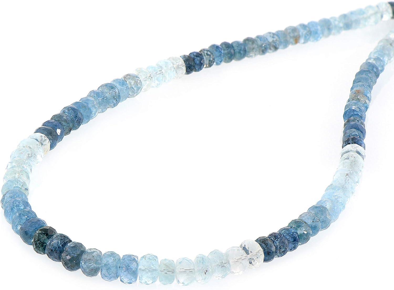 Collar de perlas de aguamarina de Santa María natural, collar de piedras preciosas con cuentas de color azul aguamarina