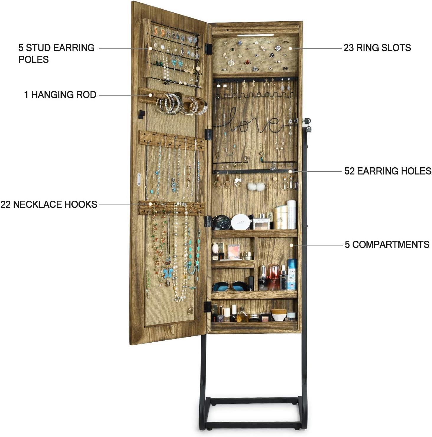 Jewelry Cabinet Carbonized Black Jewelry Organizer with Light Alsonerbay Jewelry Armoire with Full Length Mirror Standing Jewelry Storage