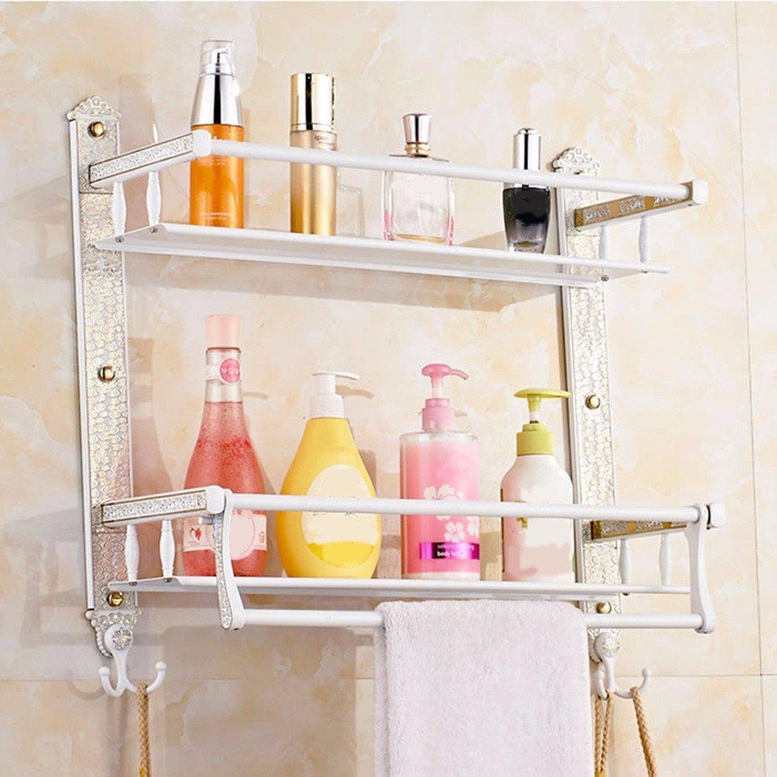 SJQKA Towel rack European Style Carved Bath Towel Rack Stainless Steel Towel Rack Multifunctional Gold Single And Double Layer Bathroom Shelf,I