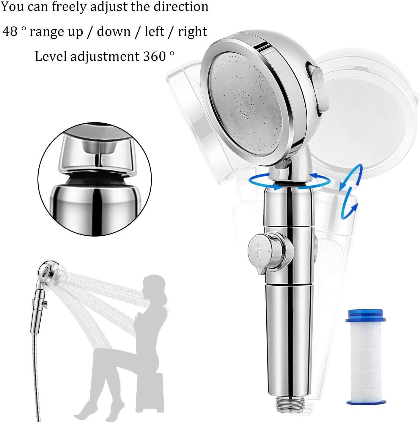 Handbrause Druckerh/öhung Universal mit Stop Taste Wassersparend 3 Strahlarten chrom Zorara Duschkopf mit Handbrause Halterung Duschkopfhalterung und 1.5m Edelstahl Schlauch 3-Lagen-Filtration