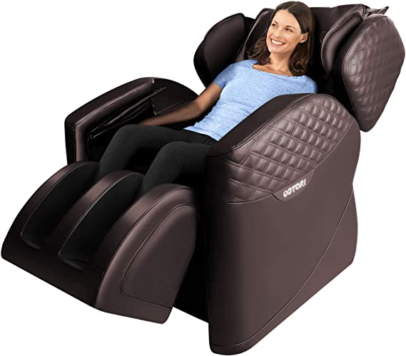 Massage Chair Full Body Recliner Zero Gravity Shiatsu Luxurious Electric Massage Chair Foot Rolling and Built in Heat with Bluetooth Speaker By Ootori (Brown)
