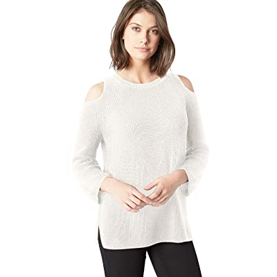 525 America Women's Cotton Shaker Cold Shoulder Sweater at Women's Clothing store