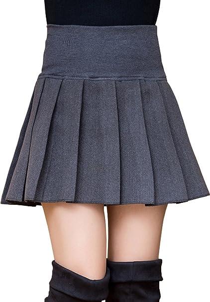 6178811a7 Pengstyle Women Sexy Mini Woolen Pleated Skirt School Girl High Waist  Casual Midi Dress Dark Gray at Amazon Women's Clothing store: