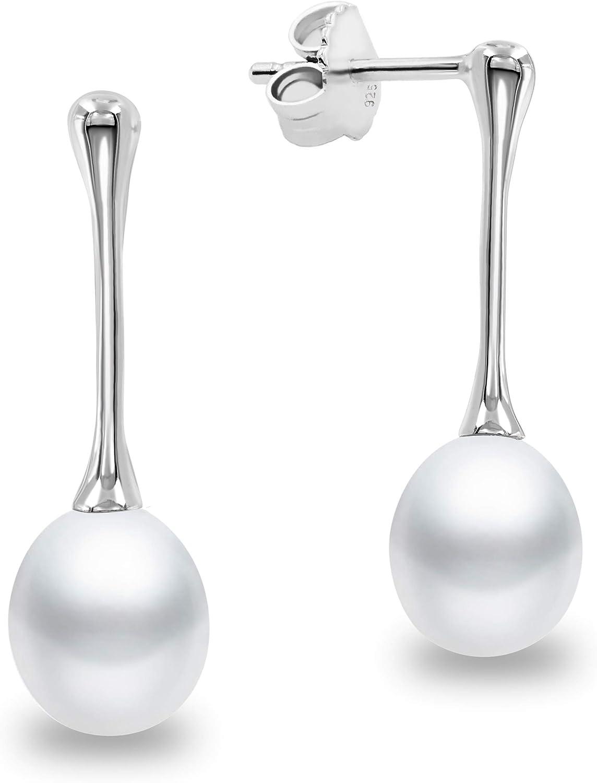 Pendientes de Mujer de Perlas Cultivadas de Agua Dulce tipo Gota de Agua Blancas Colgantes SECRET & YOU - Pendientes de Plata de Ley Rodiada de 925 milésimas.