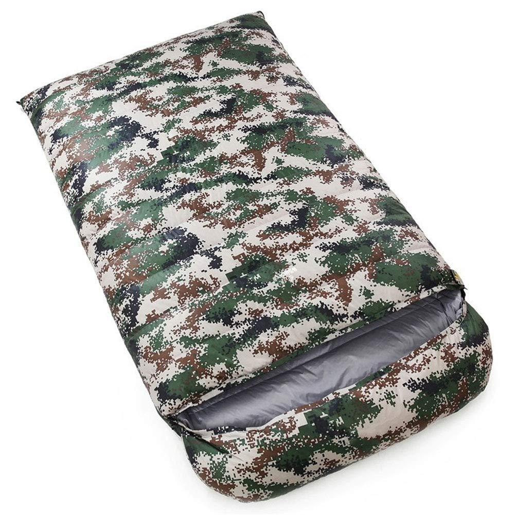 寝袋、軽量防水睡眠バッグ4シーズンキャンプハイキングポータブル睡眠袋大人2人快適封筒スリーピングパッド,darkblue,3000g B07MW77WXH camouflage 5000g 5000g|camouflage
