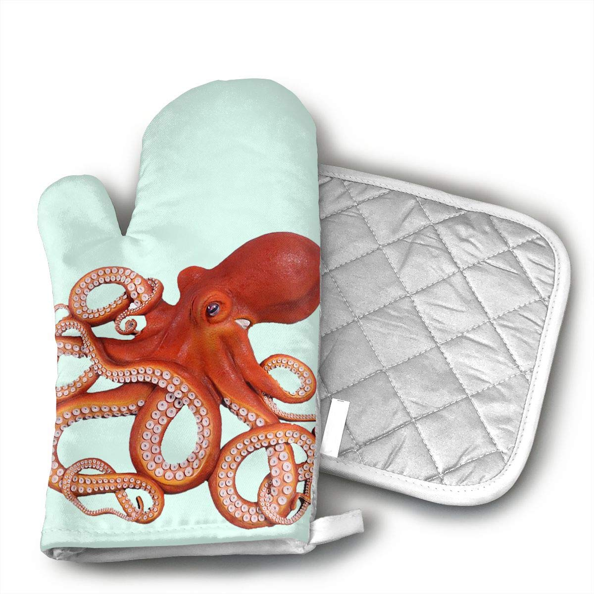 Octopus Set of Oven Mitt and Pot Holder, Microwave Glove Cotton High Heat Resistance Oven Mitts with Disk Pad for Kitchen Cooking Baking