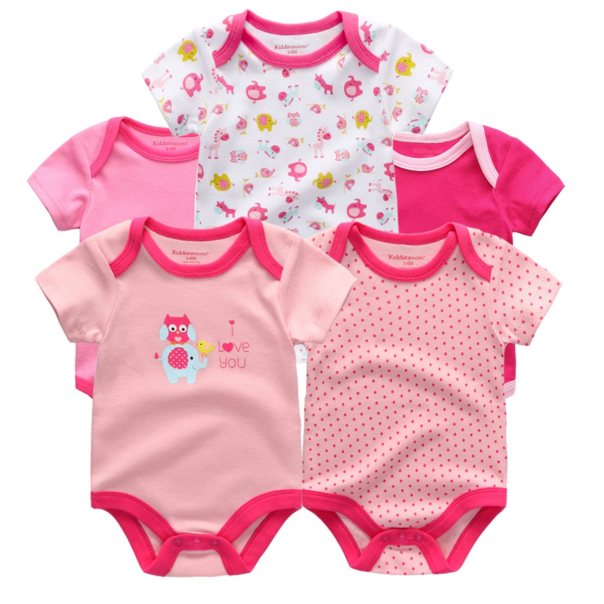 0caf366bbd3d9 Kiddiezoom 100%Cotton Baby Boys Girls Clothes Short Sleeve O-neck 5 Packs  Baby Romper Set