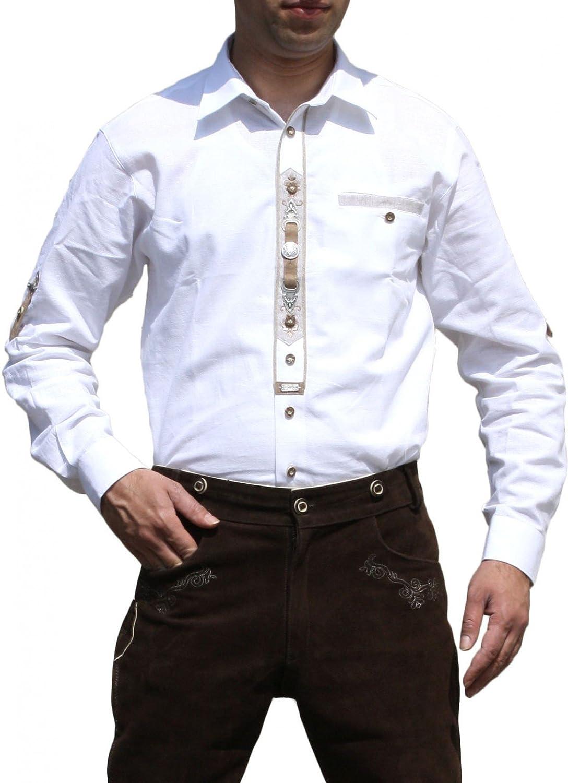 Trachtenhemd hemd für Trachten Lederhosen mit Verzierung weiß