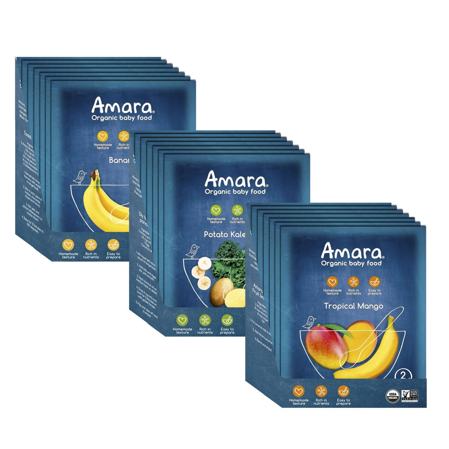 Amara Baby Food, Introduction to Solids, Healthy Baby & Infant Food, Organic Fruits and Veggies for Baby's First Meals - Banana, Potato & Kale, Tropical Mango (21 Pouches)