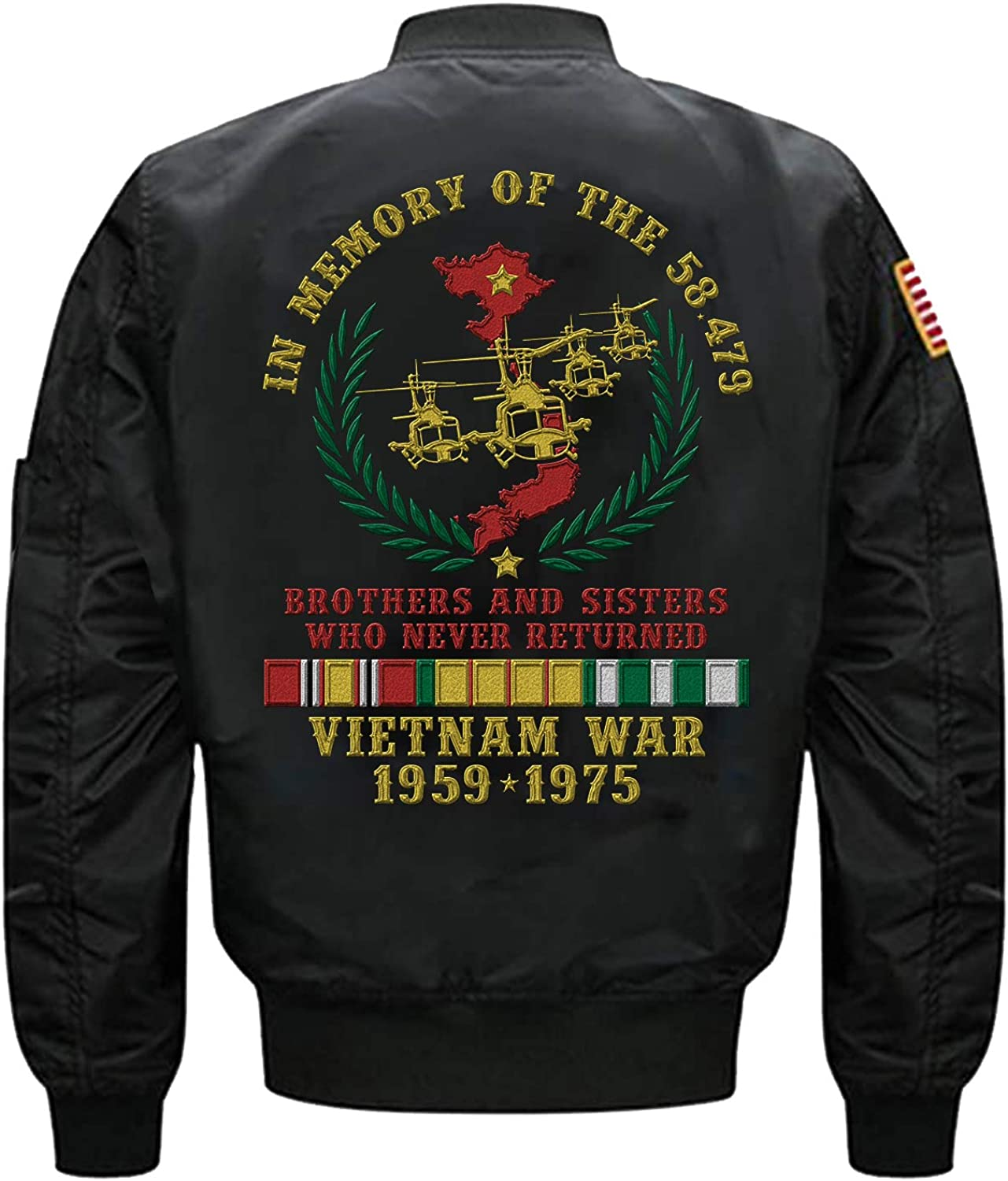 in Memory of The 58479 Brothers and Sisters Who Never Returned Vietnam Veteran Embroidered Jacket