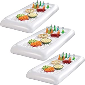 Inflatable Salad Bar Buffet Ice Cooler Beverage Serving Bar Food Drink Holder for Party Picnic BBQ Luau with Drain Plug( 3pack)