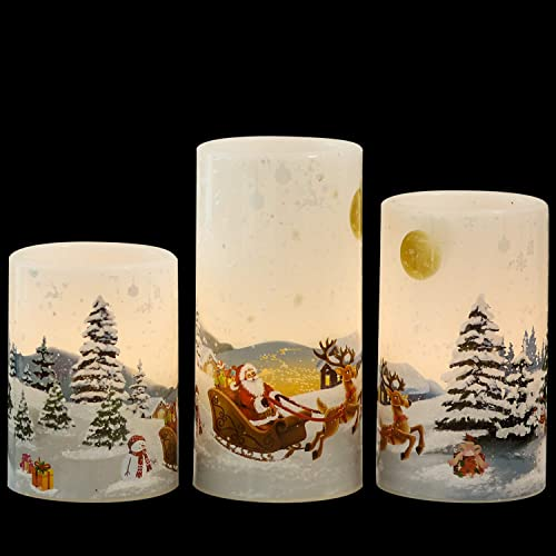 GenSwin Christmas Santa Clause Flameless Candles Flickering Battery Operated with Timer, Real Wax Led Pillar Candles Warm Light, Christmas Snowman Santa Clause and Deer Home Decor Gift Pack of 3