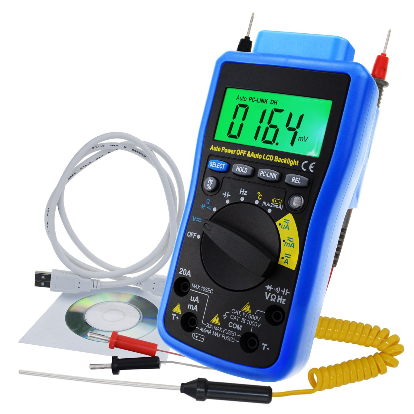 Digital DMM Multimeter Meter Tester with USB/ Software CD and Data Output Function, AC DC voltage, AC DC current, Auto Range, Capacitance, Resistance, Frequency, Diode and Continuity Test, Duty Cycle
