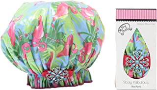 product image for Dry Divas Designer Shower Cap - Washable, Reusable - Large Bouffant With Vintage Jeweled Brooch (Single And Ready To Fla-mingle)
