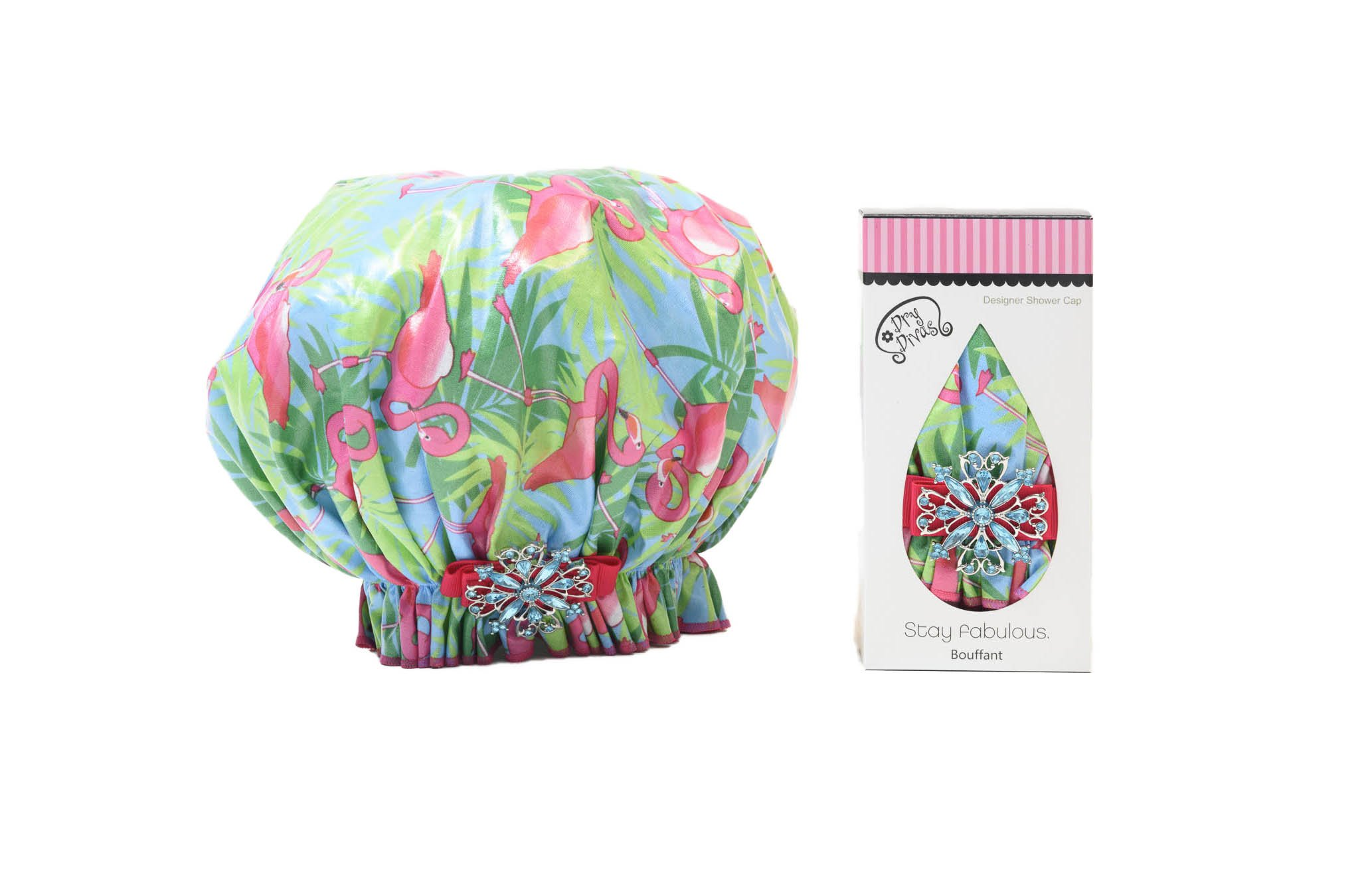 Dry Divas Designer Shower Cap - Washable, Reusable - Large Bouffant With Vintage Jeweled Brooch (Single And Ready To Fla-mingle)