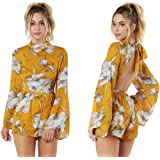 OUMAL Women Cute Rompers Halter Neck Floral Print Backless Short Beach Boho Summer Jumpsuits with Long Sleeves