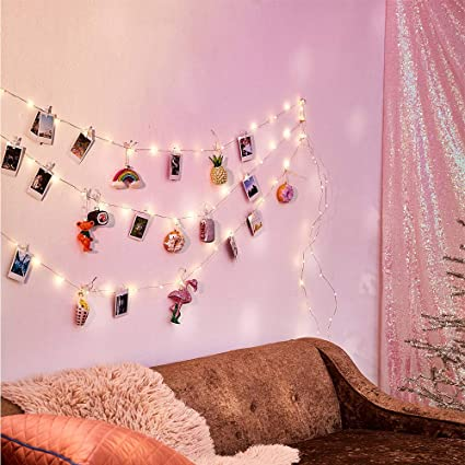 20 LED Photo Clip String Lights, Bedroom Fairy Lights with Clips for Dorm  Room or Bedroom Decoration to Hang Cards, Polaroids & Pictures