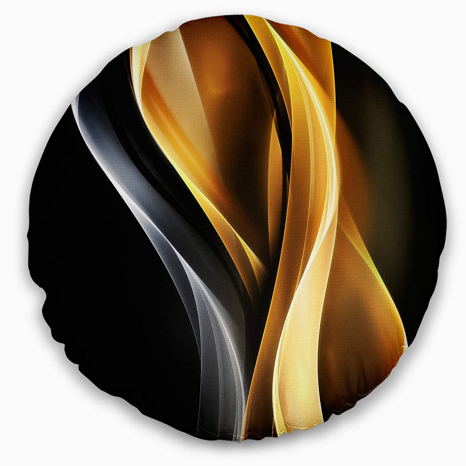Sofa Throw Pillow 16 Designart CU8847-16-16-C Brown White Light Art Abstract Round Cushion Cover for Living Room Insert Printed On Both Side