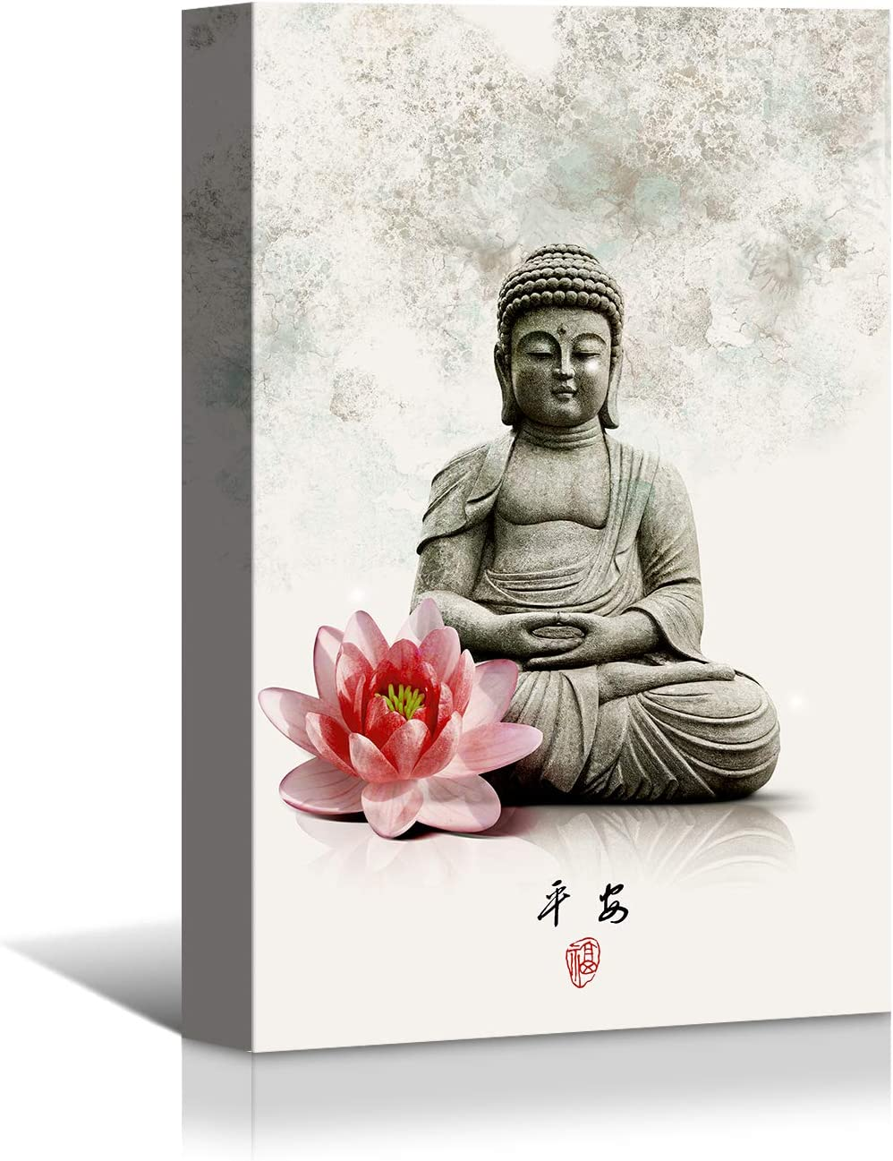 Looife Chinese Style Canvas Wall Art - 30x40 Inch Ink Painting Buddha Statue with Flower Picture Artwork Giclee Prints Wall Decor, Modern Gallery Wrapped Home Art Deco