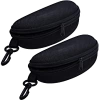 Zipper Eye Glasses Sunglasses Hard Case Storage Box Holder Portable Protector,Set of 2
