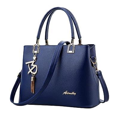 f8338c62bae2e Damen Handtaschen Schulterbeutel TUDUZ Frauen PU Leder Designer Messenger Bag  Umhängetasche (Blau)