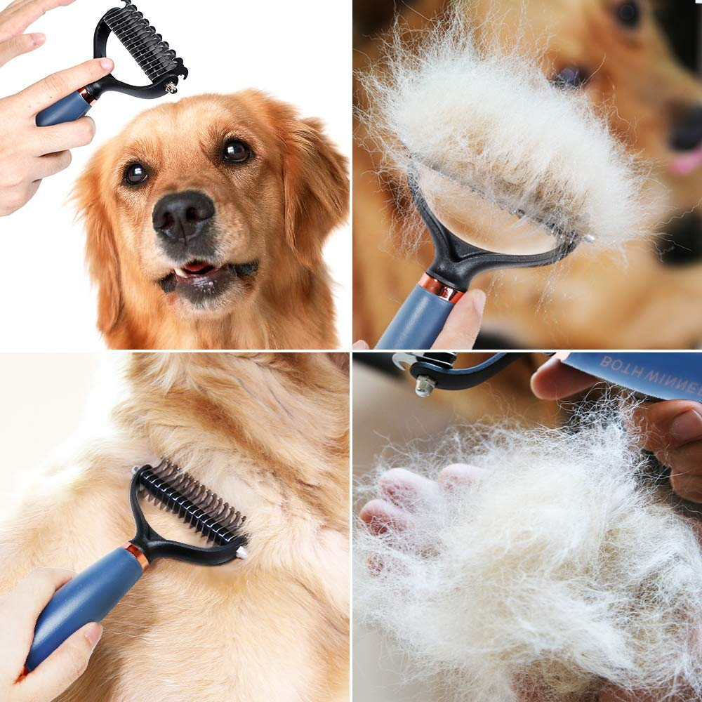 BOTH WINNERS Dematting Comb with 2 Sided Professional Grooming Rake for Cats & Dogs with Non-Slip Silica Gel Handle