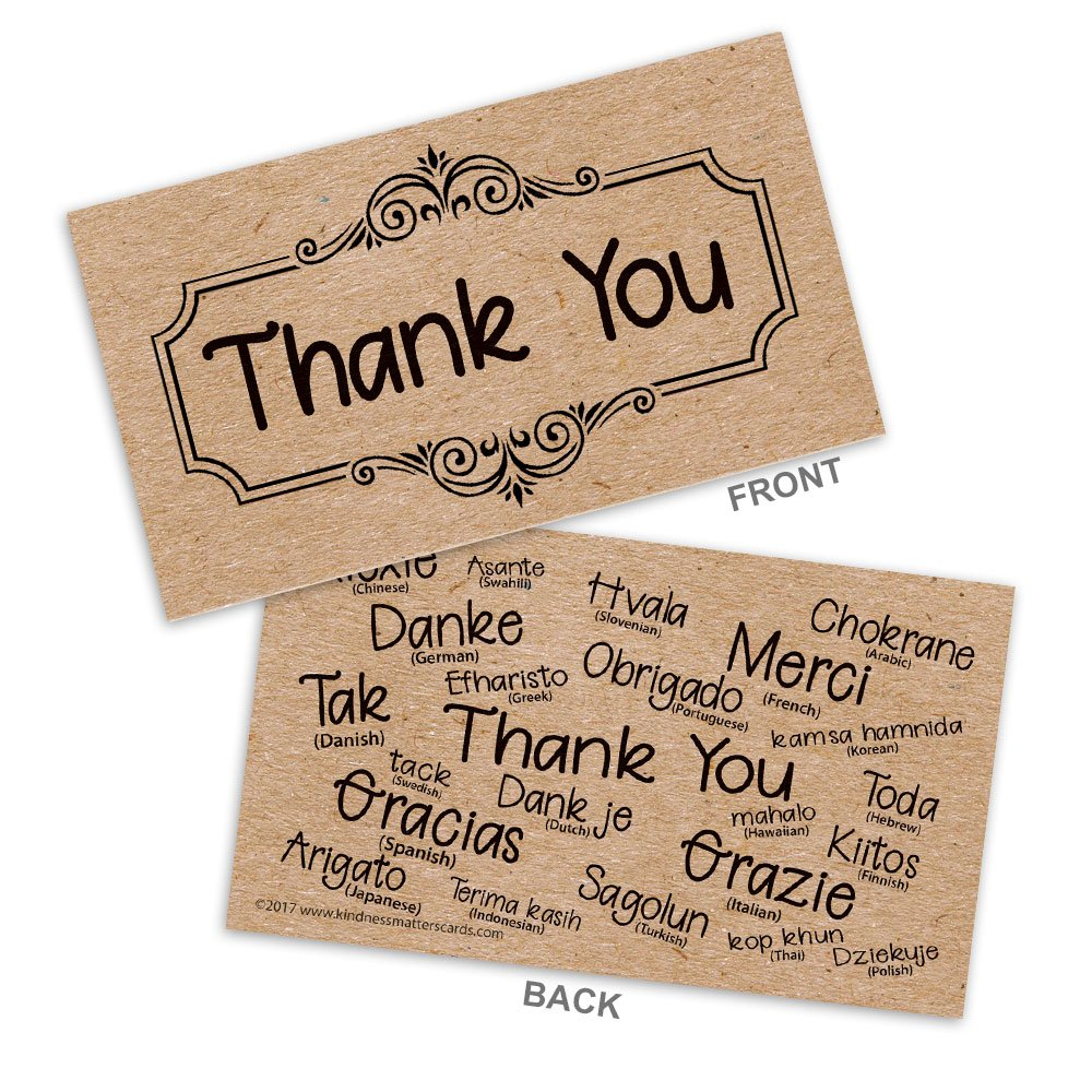 Thank You Business Cards with Kraft color printed background on uncoated matte finish for a natural look and feel - Box of 100