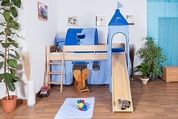 Etagenbett Mit Rutsche Massiv : Kinderbett hochbett tom mit rutsche und turm inkl. rollrost