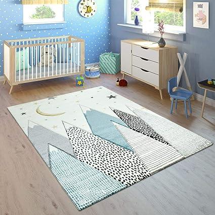 Tapis Enfant Chambre Enfant Motif Montagne Lune Étoiles en Pastel Bleu  Gris, Dimension:160x230 cm