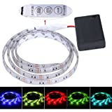 FISHBERG Waterproof 3528 SMD 120 Leds Strip Lights Battery Operated 2M 6.6Ft Led Flexible Light Strip Crafts Lighting (Multicolor)