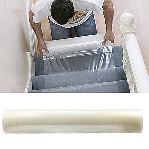 cusfull Protector de alfombra autoadhesivo plástico película de protección para alfombra, alfombra, suelo y escaleras película de polietileno resistente al agua 60 cmx100 m