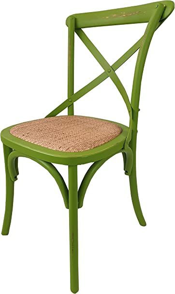 Totò Piccinni Sedia in Legno Design Cross, Seduta Intreccio Rattan, Alta QUALITA' (Verde Antico, 1)