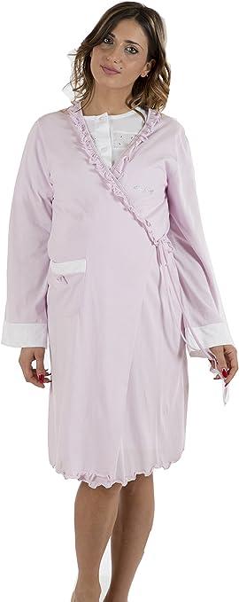 TALLA IV (M). Premamy - Bata para Maternidad, Modelo de Frente Abierto, Jersey algodón, pre-Post-Parto