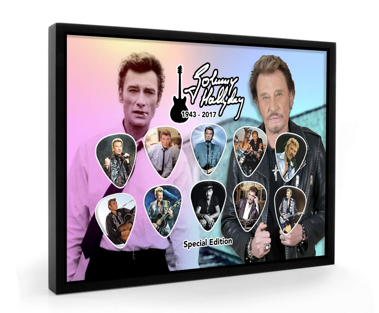 Johnny Hallyday Guitare encadré e Pick plectre Framed Display We Love Guitars