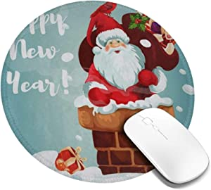 Mini Mouse Pad Round Happy New Year Christmas Santa Claus Rabbit Computer Mouse Pads Laptop Mousepad Circle Small Cute Personalized Gaming Mouse Mat for Women Kids Girls Boys Men Non Slip 7.9 X 7.9
