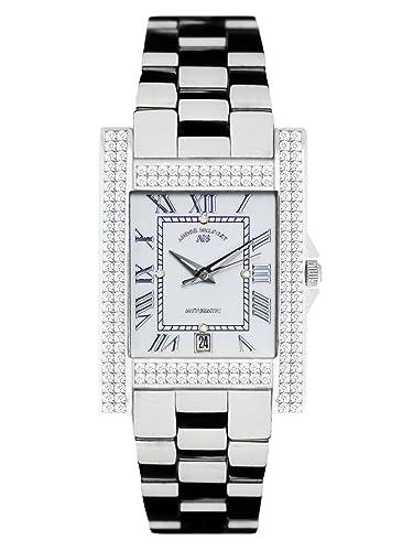André Belfort 410123 - Reloj analógico de mujer automático con correa de cerámica plateada - sumergible a 50 metros: Amazon.es: Relojes