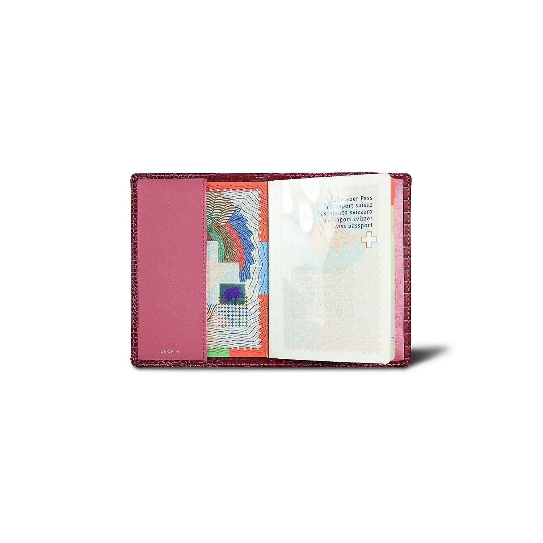 Lucrin – 本革USAパスポートカバー – クロコダイルスタイルカーフスキン B00SYISPP2 フクシャ