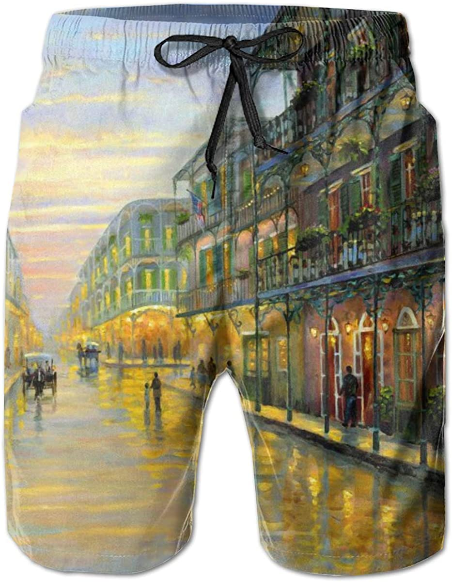 Small Town Oil Painting YongColer Mens Swim Trunks Quick Dry Beach Swim Shorts with Pockets Bathing Suits