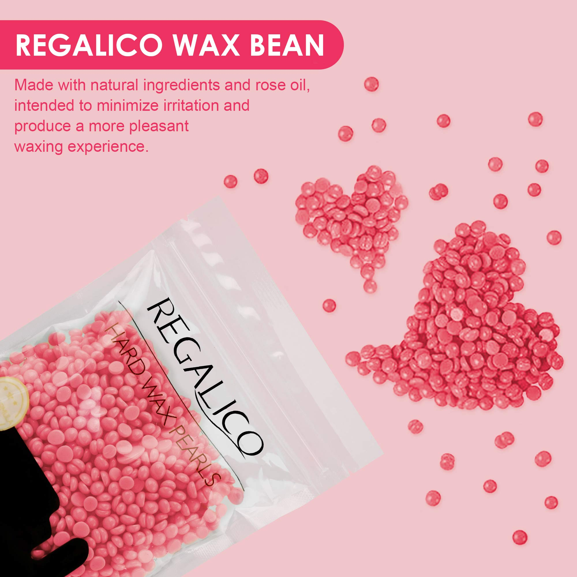 Waxing Kit for Women, Regalico Wax Warmer with 4 Bags Painless Hard Wax Beans Hair Removal Kit (3.5oz/Bag) 20 Wax Applicator Sticks, At Home Waxing Kit for Eyebrow,Armpit, Bikini, Brazilian