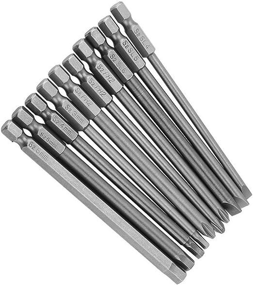 5 piezas de acero de aleaci/ón S2 1//4 juego de brocas para destornillador magn/ético en forma de U Juego de brocas para destornillador v/ástago hexagonal 50 mm de longitud