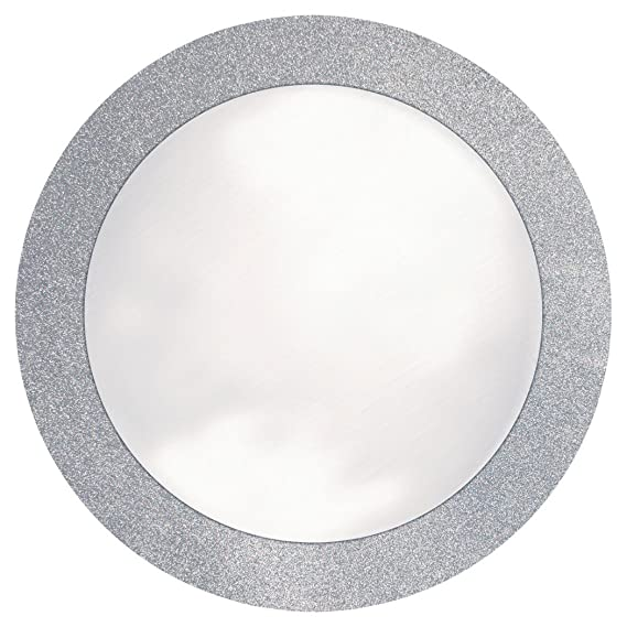 """Creative Converting Glitz Silver Round Paper Placemats with 2"""" Glitter Border, 8 Count"""