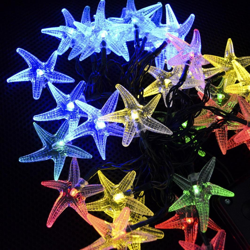 Highpot Solar Starfish String Lights 30 LED Window Curtain Lights Lamp Home Party Decor (Multicolor)