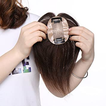 Extensiones de Cabello Natural Clip Prótesis Capilar Mujer 100% Remy Pelo Humano Ideados para Ampliar el Volumen en en La Coronilla Flequillo Postizo (15cm ...