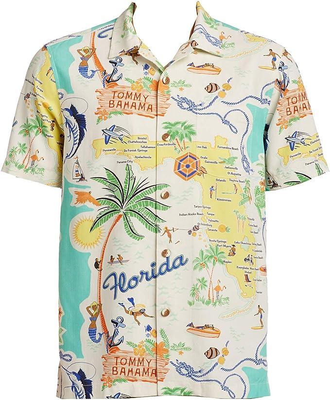 Tommy Bahama Meet Me in Miami - Camisa de Acampada de Seda - - XX ...