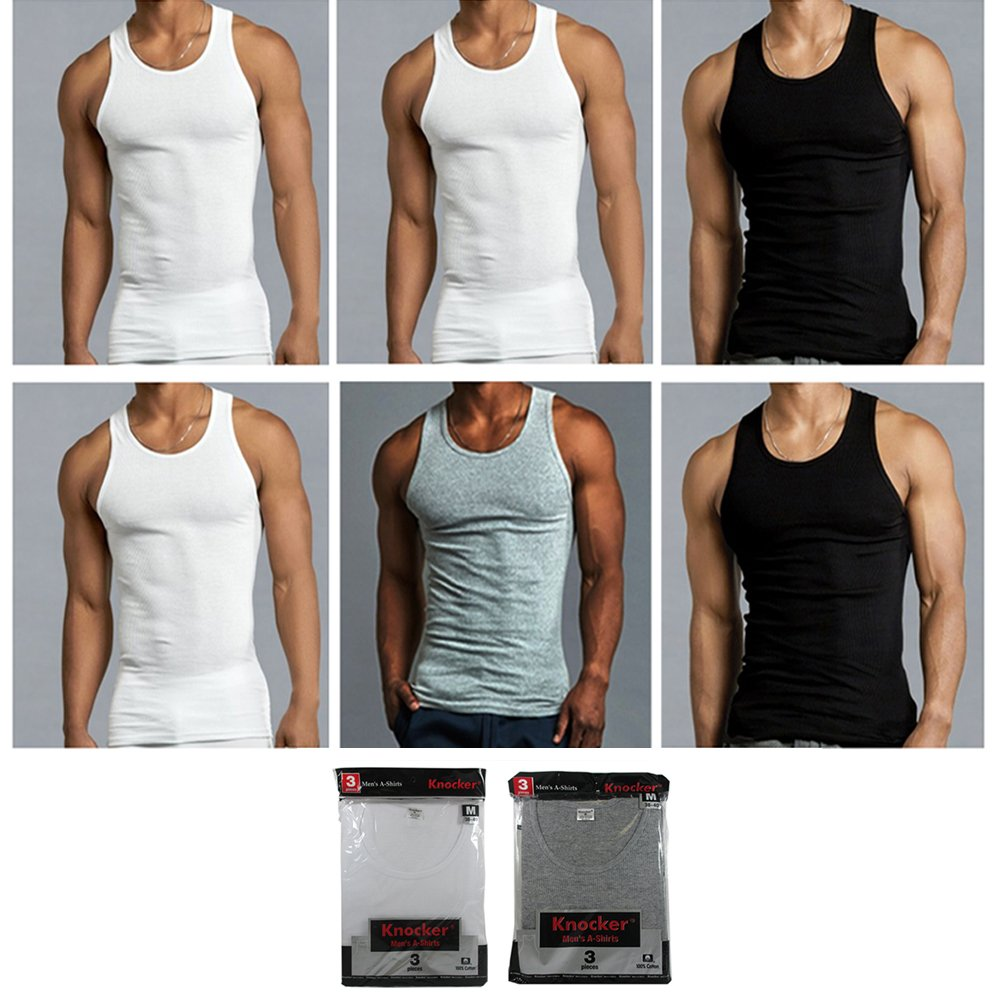a2260d835cc56d Amazon.com  6 Mens Tank Top 100% Cotton A-Shirt Black WHT Grey Wife Beater  Ribbed Undershirt  Office Products