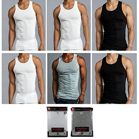 94d3000bb0d8bc Amazon.com  6 Mens Tank Top 100% Cotton A-Shirt Black WHT Grey Wife Beater  Ribbed Undershirt  Office Products