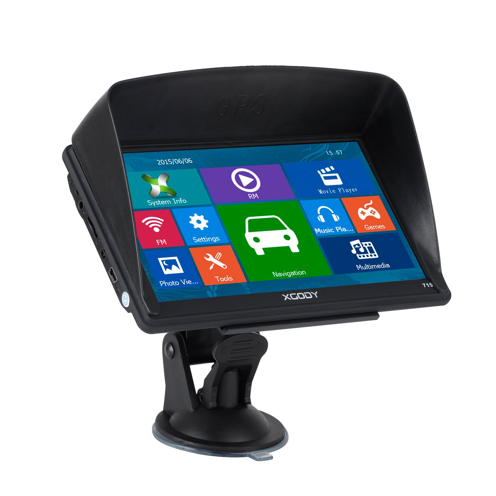 Xgody 715 7 Inch Car Truck GPS Navigation Sat Nav Capacitive Touch Screen with Sunshade Built-in 8GB FM MP4 MP3 Lifetime Map Updates with Spoken Turn-By-Turn Directions Black