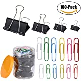 Assorted Binder Clips, Black Binder Clips And Colored Paper Clips Set, Paper Clips (30 Jumbo, 30 Regular), Binder Clips (10 Small, 10 Medium, 10 Large, 10 X-Large) 100 Pack