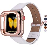 JFdragon Watch Bands with Case Compatible with Apple Watch 38mm 40mm 42mm 44mm Women Men Girls Boys Genuine Leather…