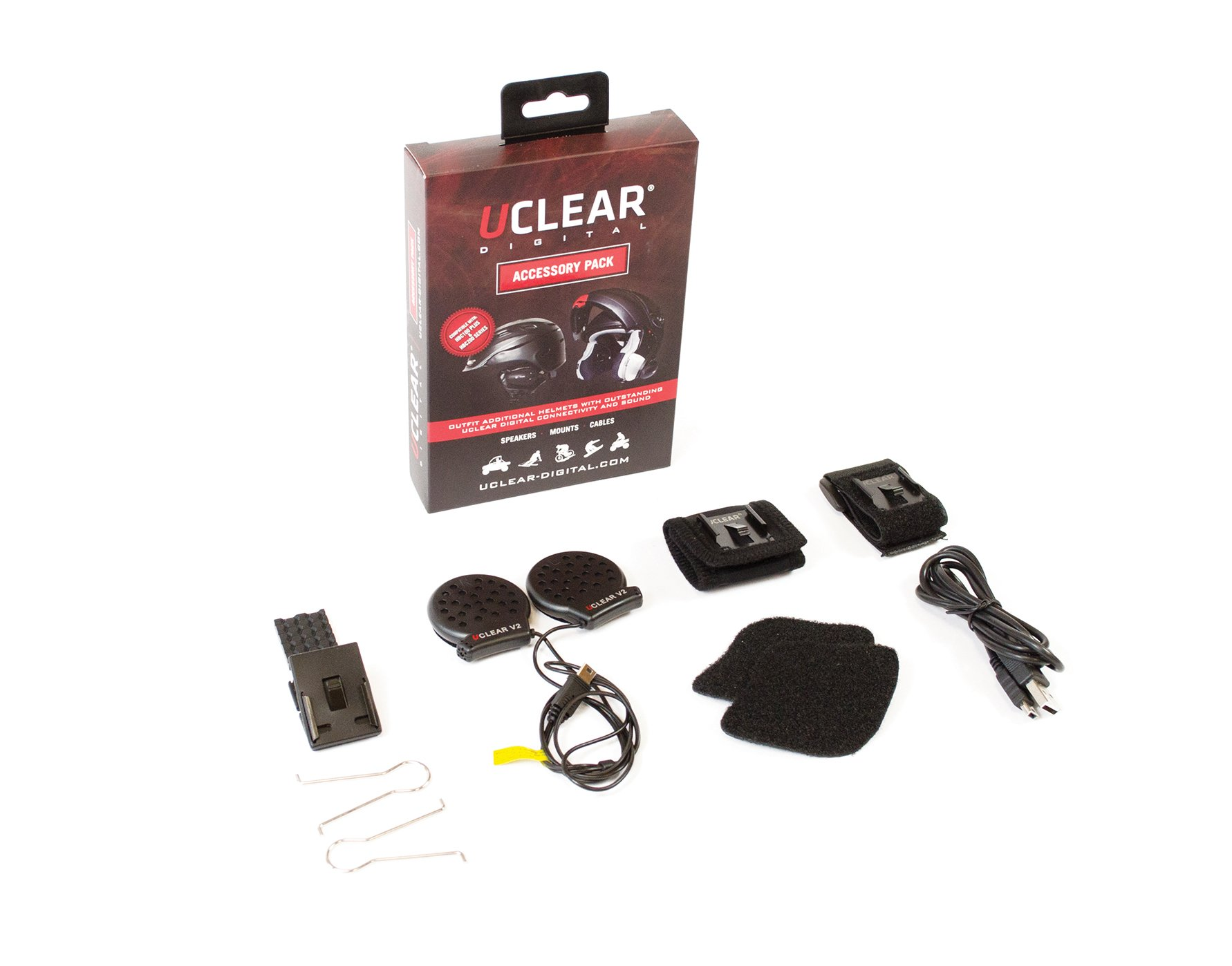 UCLEAR Digital Accessory Pack includes V2 Speakers, Mounting Hardware and USB Cablecompatible with AMP, HBC100 PLUS, HBC150 and HBC200 Bluetooth Headset Series (NOT HBC100 or Vybe)